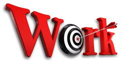 work red word and conceptual target with arrow on white background - stock illustration