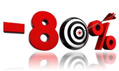 Eighty per cent red discount symbol with target Stock Illustration