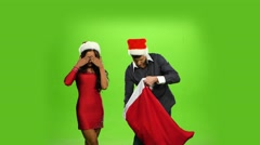 beautiful happy christmas holiday couple, gift box present. green screen - stock footage