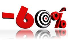 sixty per cent 60% red discount symbol with conceptual target - stock illustration