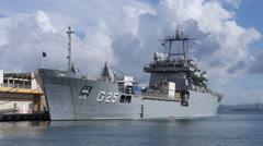 Bow view - Brazil Navy logistic cargo ship - Almirante Saboia 3 of 3 Stock Footage