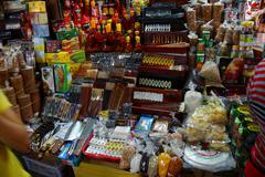 Stall selling incense, calligraphy Stock Photos