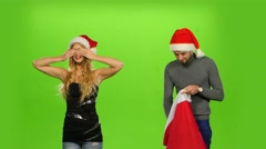 beautiful holiday couple, gift box present. green screen. new Year - stock footage
