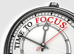 Stock Illustration of time to focus concept clock closeup