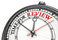 time for review concept clock - stock illustration
