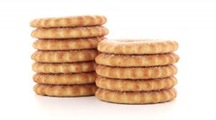 Rings biscuits on white background Stock Footage