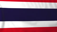 Stock Video Footage of Flag of Thailand waving in the wind, seemless loop animation