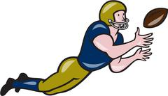 American Football Receiver Catching Ball Cartoon - stock illustration