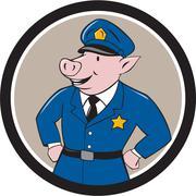 Stock Illustration of Policeman Pig Sheriff Circle Cartoon