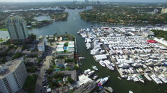 Birdseye aerial view of the boat show - stock footage