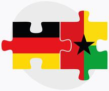 Germany and Guyana Flags - stock illustration