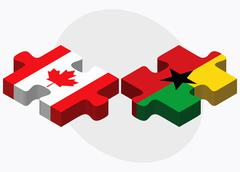 Canada and Guyana Flags - stock illustration