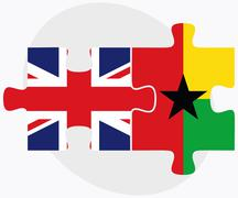 Stock Illustration of United Kingdom and Guyana Flags