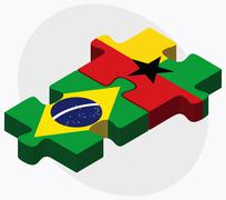 Stock Illustration of Brazil and Guyana Flags