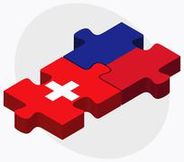 Switzerland and Haiti Flags Stock Illustration