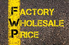 Business Acronym FWP as Factory Wholesale Price - stock illustration