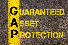 Stock Illustration of Business Acronym GAP as Guaranteed Asset Protection