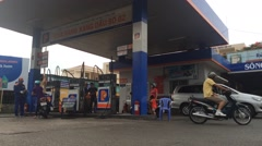 Timelapse view of gas station in Vung Tau city in Vietnam Stock Footage