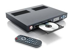 Blu-ray player with open disc tray - stock illustration