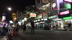 Timelapse view of people walks at famous Kao San road Stock Footage