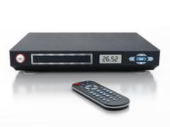 Blu-ray player with closed disc tray - stock illustration