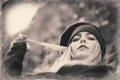 Image with old style portrait of blond woman - stock photo