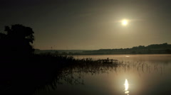 Starry Moonlit night on the river Seversky Donets, Rostov Region, Russia,  Stock Footage