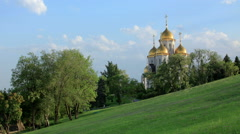 "Clouds over the orthodox temple of ""All Saints Church"" in Volgograd, Russia,  Stock Footage"