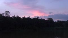 Sunset over rainforest river filmed from boat Stock Footage