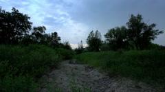 Sunset on the river Chardym. Tarkhany village, Saratov region, Russia. Stock Footage
