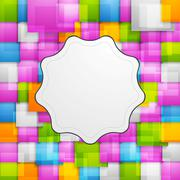 Colorful squares background and retro label - stock illustration