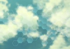Cloudscape vector design with hexagon texture - stock illustration