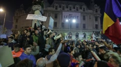 Stock Video Footage of Protest against corruption in Romania.