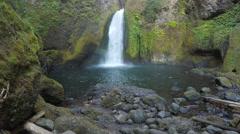 Wahclella Falls Mossy Rocks Stock Footage