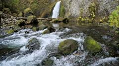 Water rippling down stream at Wahclella Falls Stock Footage