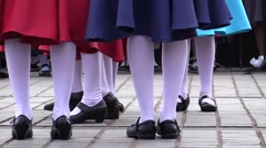 Dancers feet and legs. Public folk french dancing and cabaret - stock footage