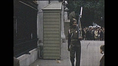 Vintage 16mm film, 1953, UK, Indian Army guards at palace Stock Footage