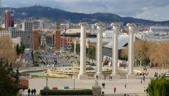 Shot of of Placa De Espanya (Square of Spain). Barcelona, Spain Stock Footage