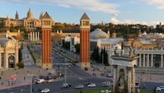 View of Placa De Espanya( Square of Spain) Stock Footage