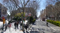 Riding in a tourbus through the downtown area of Barcelona. Stock Footage