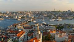 Stock Video Footage of View to Golden Horn from Galata tower. Istanbul, Turkey. UHD, 4K