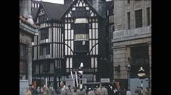 Vintage 16mm film, 1953, UK, street scene London Queen's Coronation Stock Footage