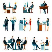 Office Worker Icons Stock Illustration