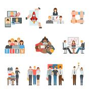 Teamwork flat icons set Stock Illustration