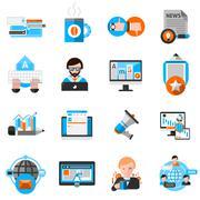 Blogging Icons Set Stock Illustration