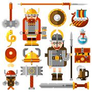 Vikings Icons Set - stock illustration