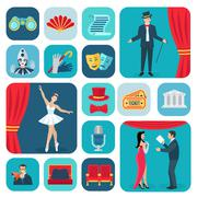 Theater Icons Flat Set - stock illustration