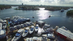 Yacht staging at the boat show - stock footage