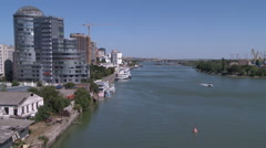 View of river divides city into two parts Stock Footage