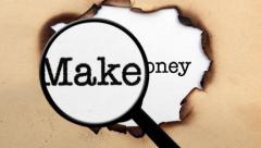 Magnifying glass on make money concept Stock Footage